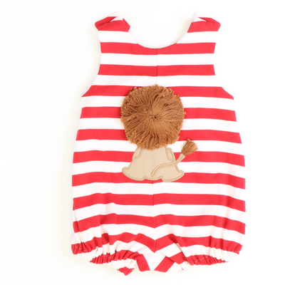 Lion Appliqué Boy Bubble - Red Stripe Knit