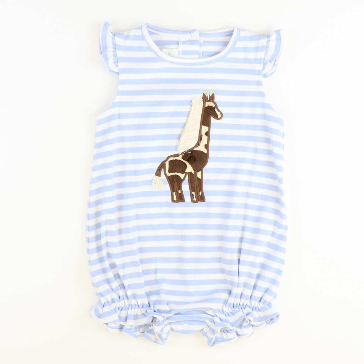 Giraffe Appliqué Girl Bubble-Light Blue Stripe Knit