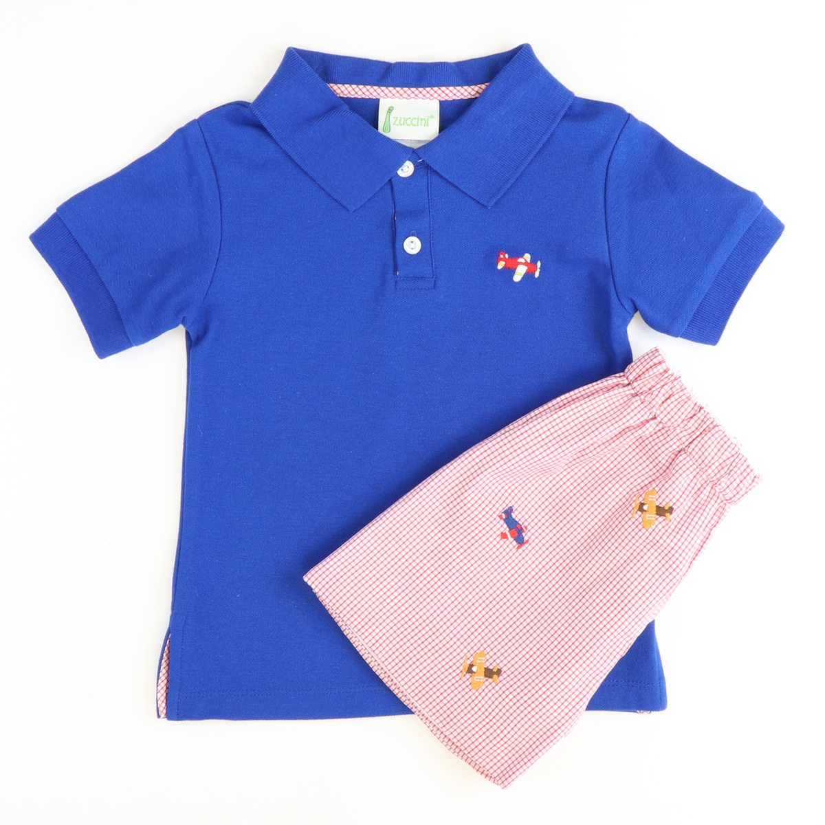 Embroidered Airplane Polo & Short Set