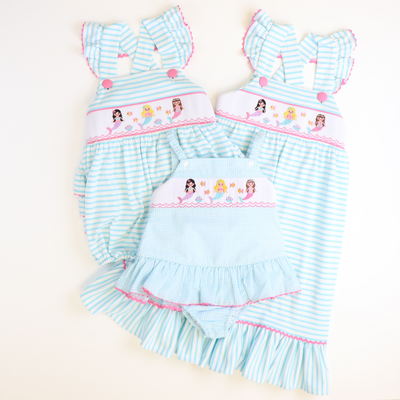 Smocked Mermaids Swimsuit - Sky Mini Check Seersucker