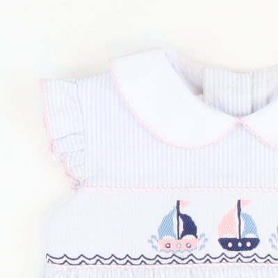 Smocked Sailboats Dress - Light Blue Stripe Seersucker