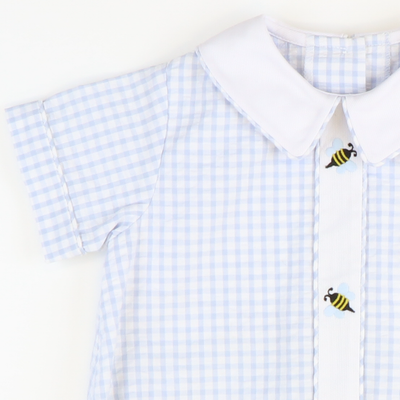 Embroidered Honey Bee Boy Collared Bubble