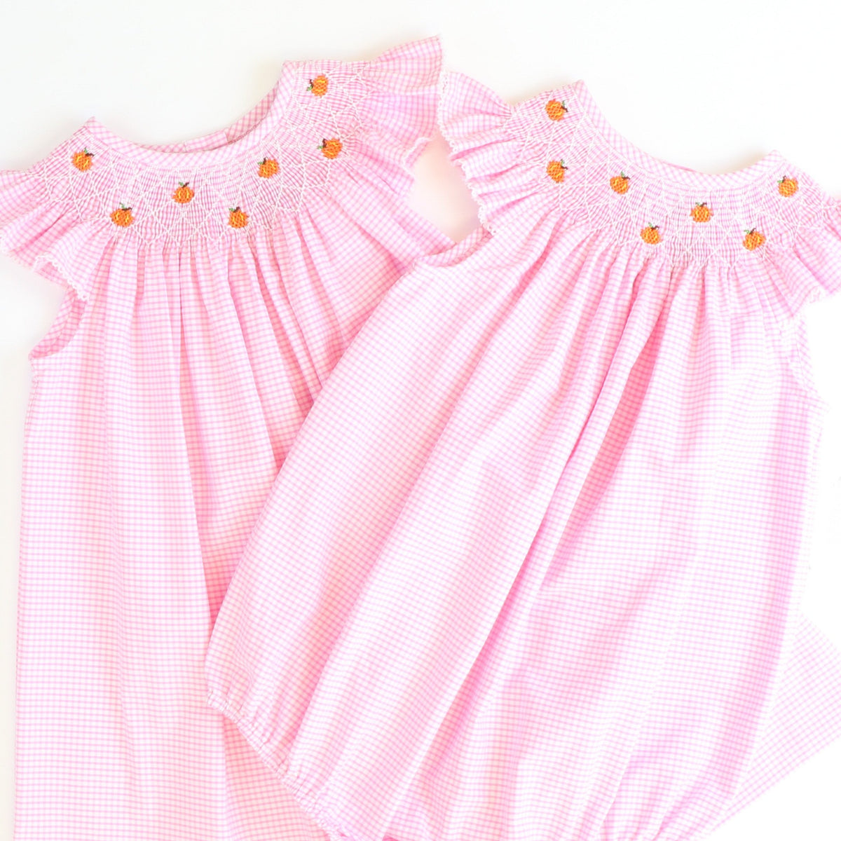 Smocked Tiny Pumpkins Bubble - Light Pink Mini Check Seersucker