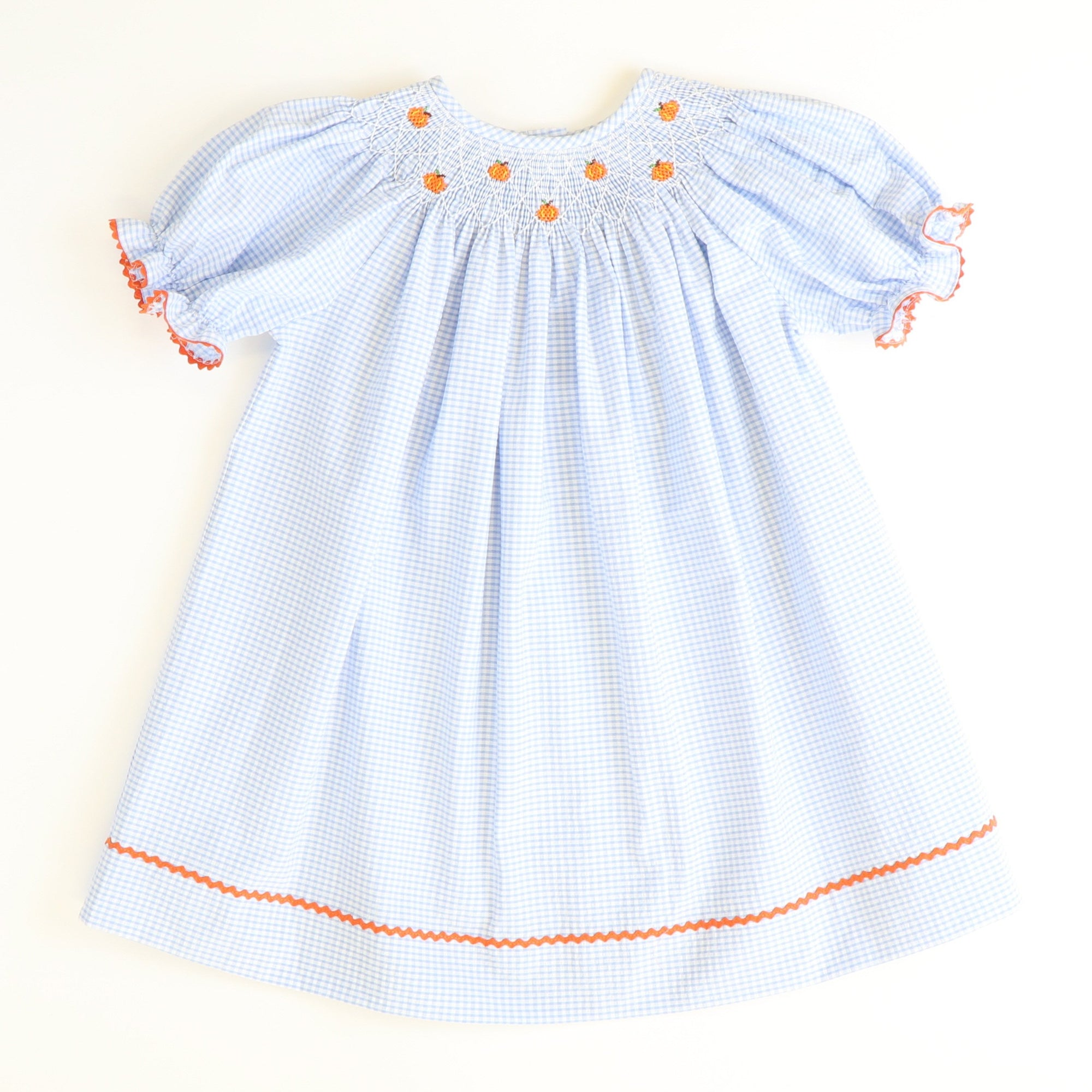 Smocked Tiny Pumpkins Bishop - Light Blue Mini Check Seersucker