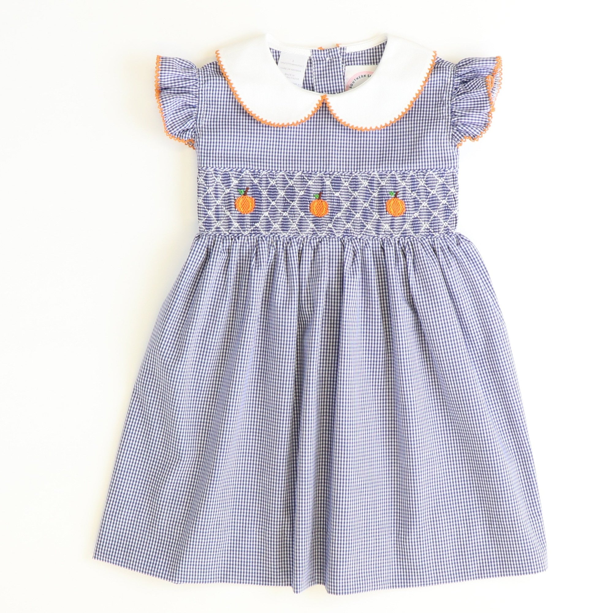 Smocked Geo Pumpkins Collared Dress - Navy Blue Mini Check