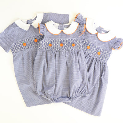 Smocked Geo Pumpkins Collared Bubble - Navy Blue Mini Check