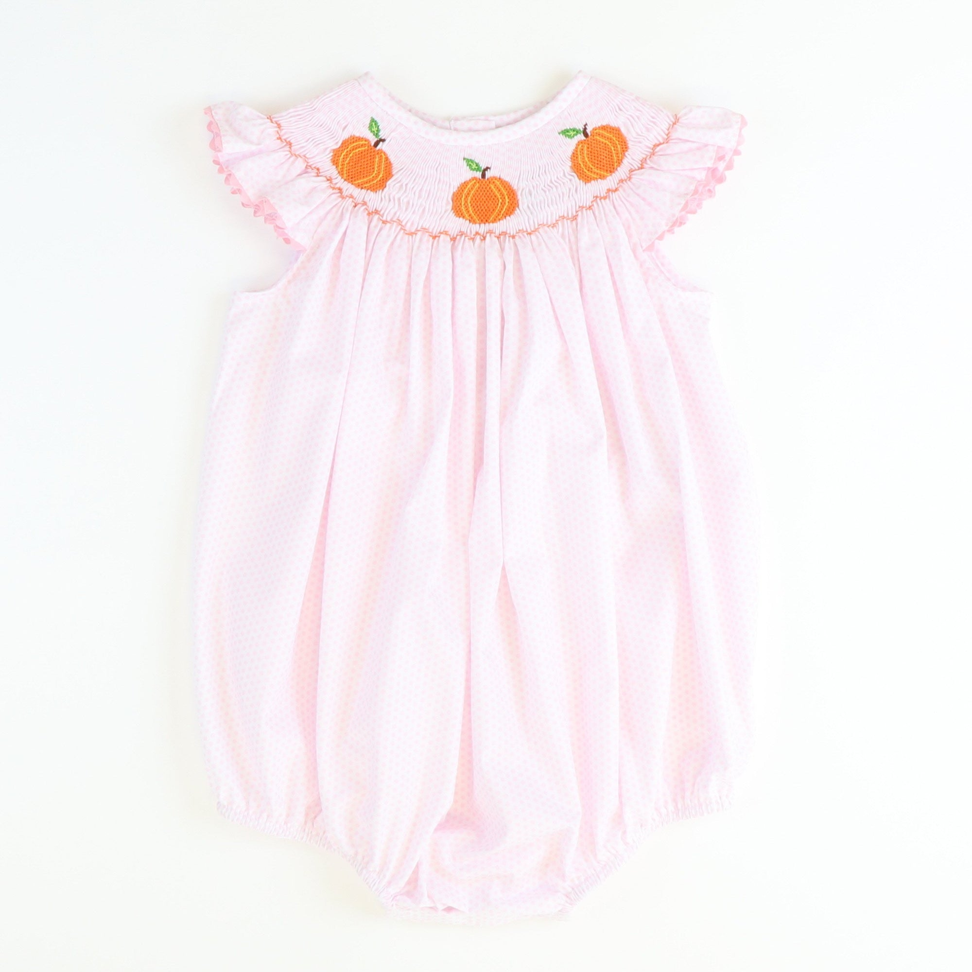 Smocked Pumpkins Bubble - Light Pink Dot