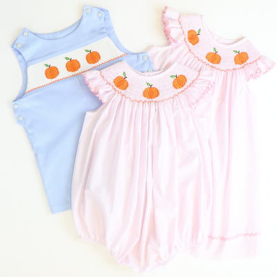 Smocked Pumpkins Shortall - Light Blue Pique