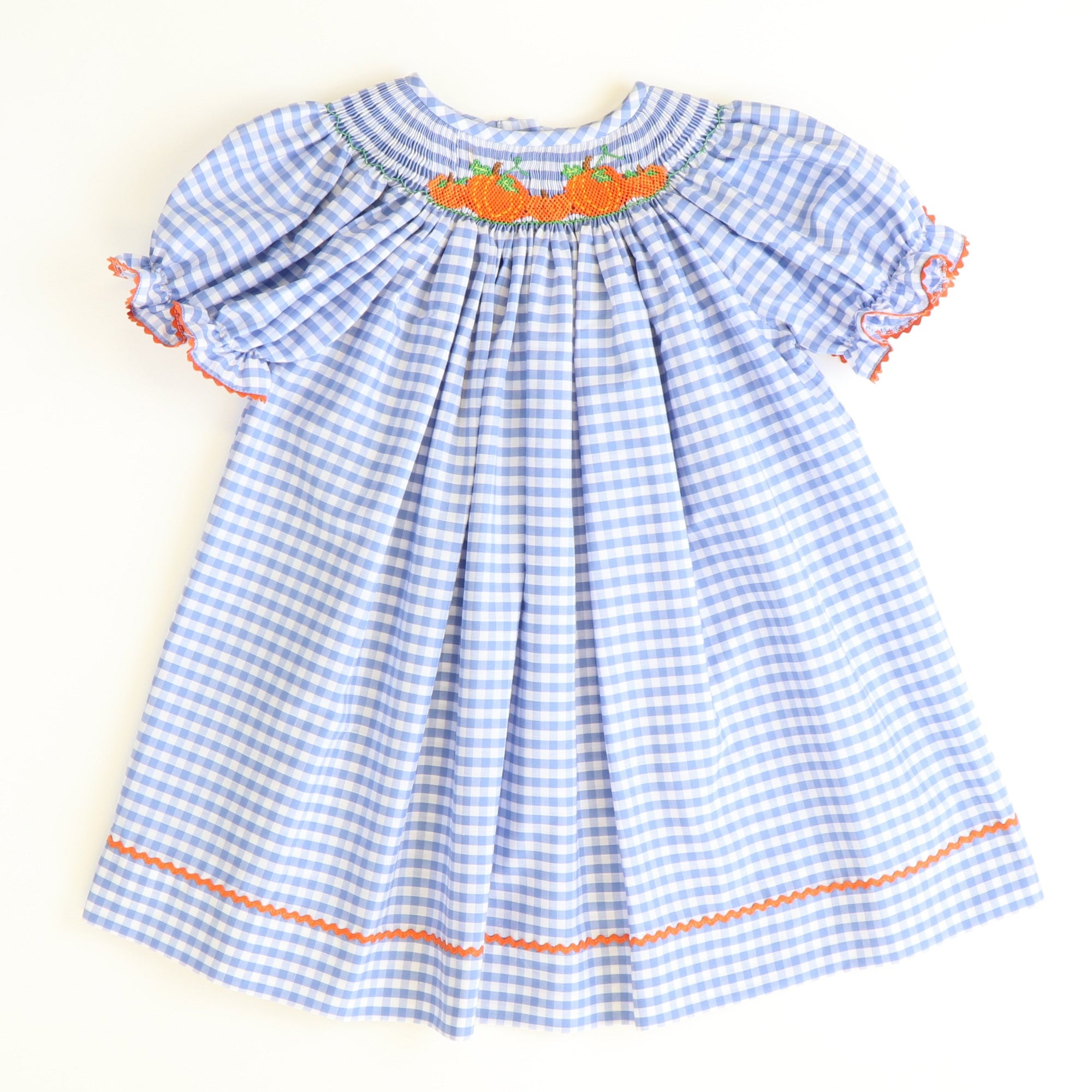 Smocked Pumpkin Patch Bishop - Blue Check