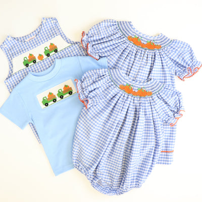 Smocked Pumpkins & Trucks Shortall - Blue Check