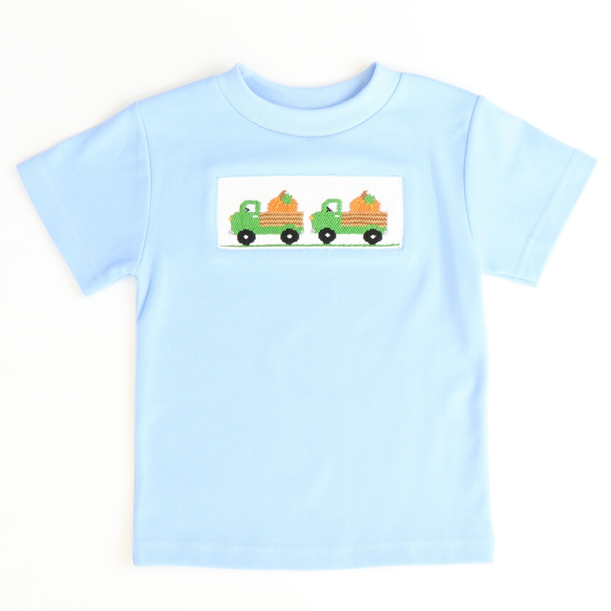 Smocked Pumpkins & Trucks T-Shirt - Light Blue