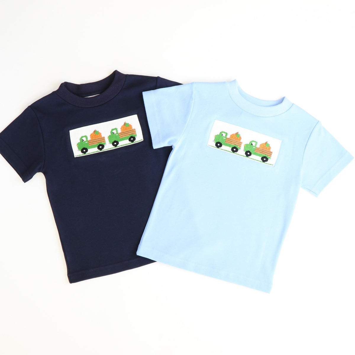 Smocked Pumpkins & Trucks T-Shirt - Navy Blue