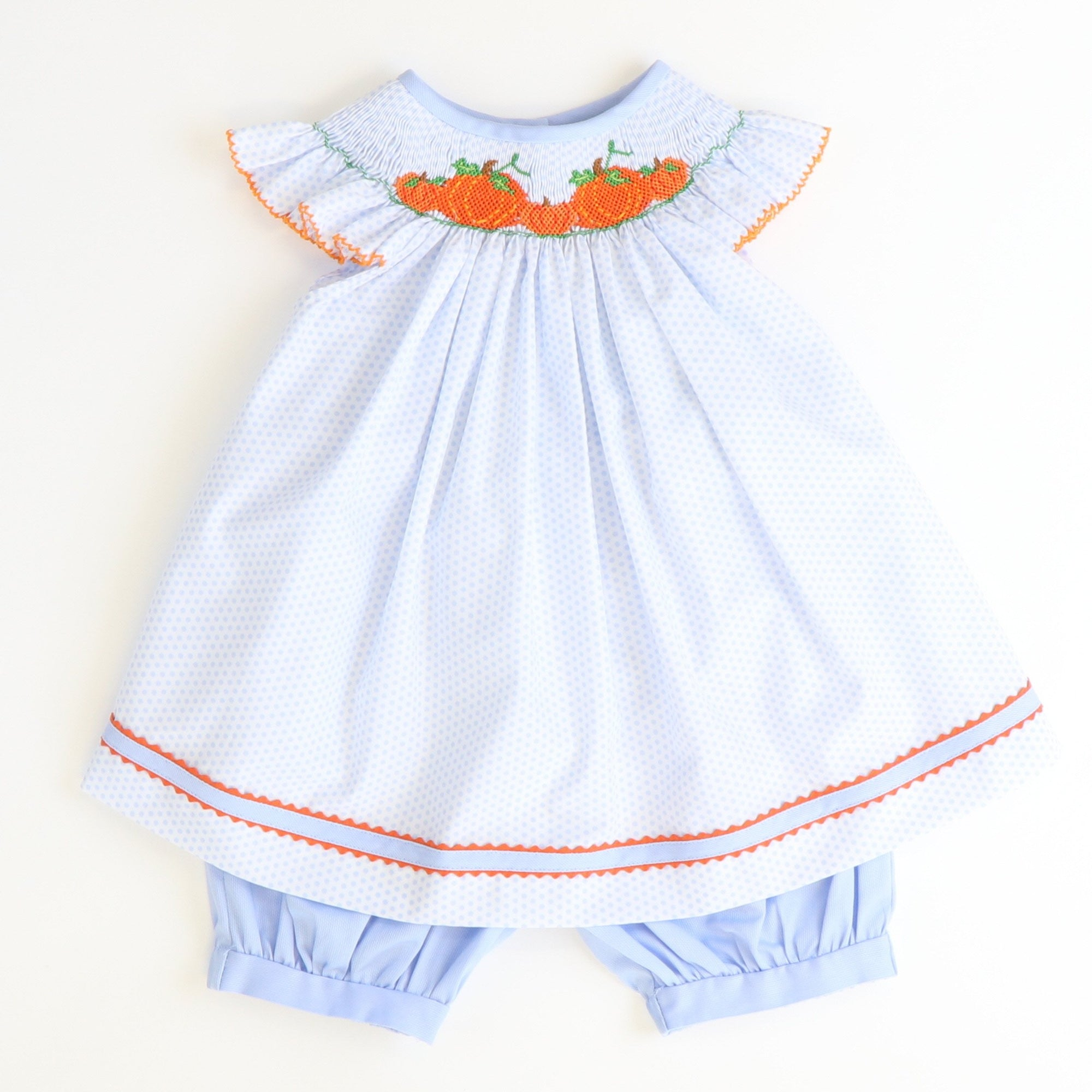 Smocked Pumpkin Patch Top & Bloomer Set - Light Blue Dot