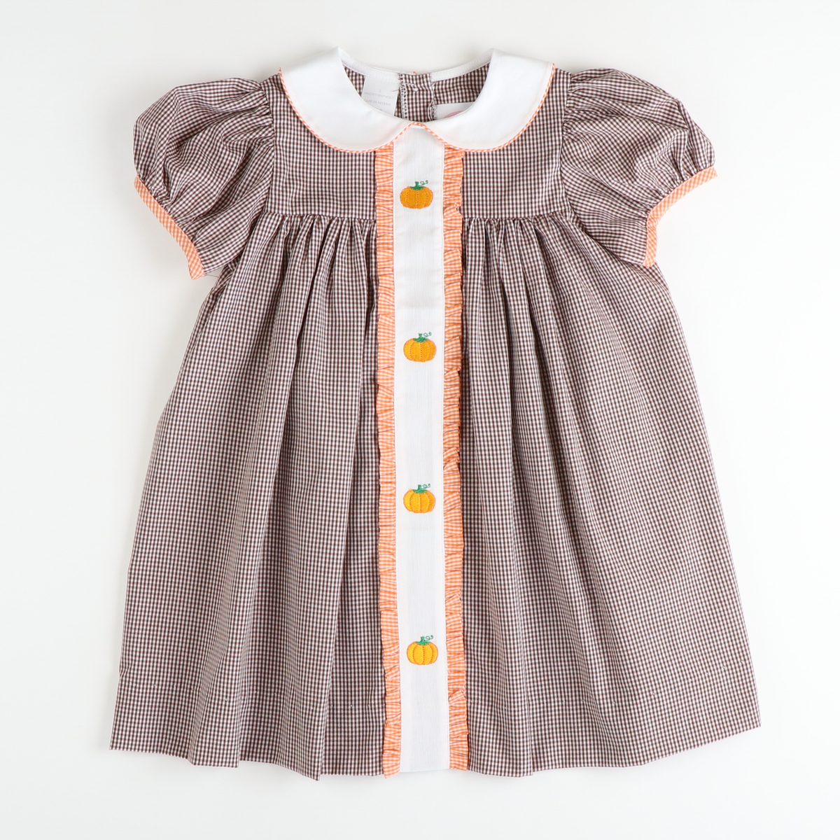 Embroidered Pumpkins Collared Dress - Brown Gingham
