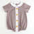 Embroidered Pumpkins Boy Collared Bubble - Brown Gingham