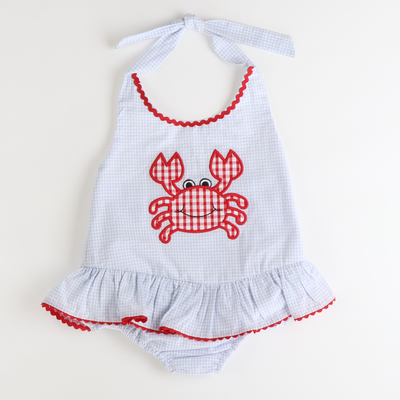 Appliqué Crab Swimsuit - Light Blue Mini Check Seersucker