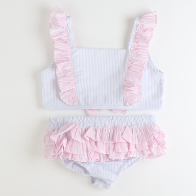 Two-Piece Ruffle Swimsuit - Light Blue Stripe Seersucker