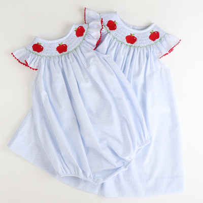 Smocked Apples Bishop - Light Blue Dot