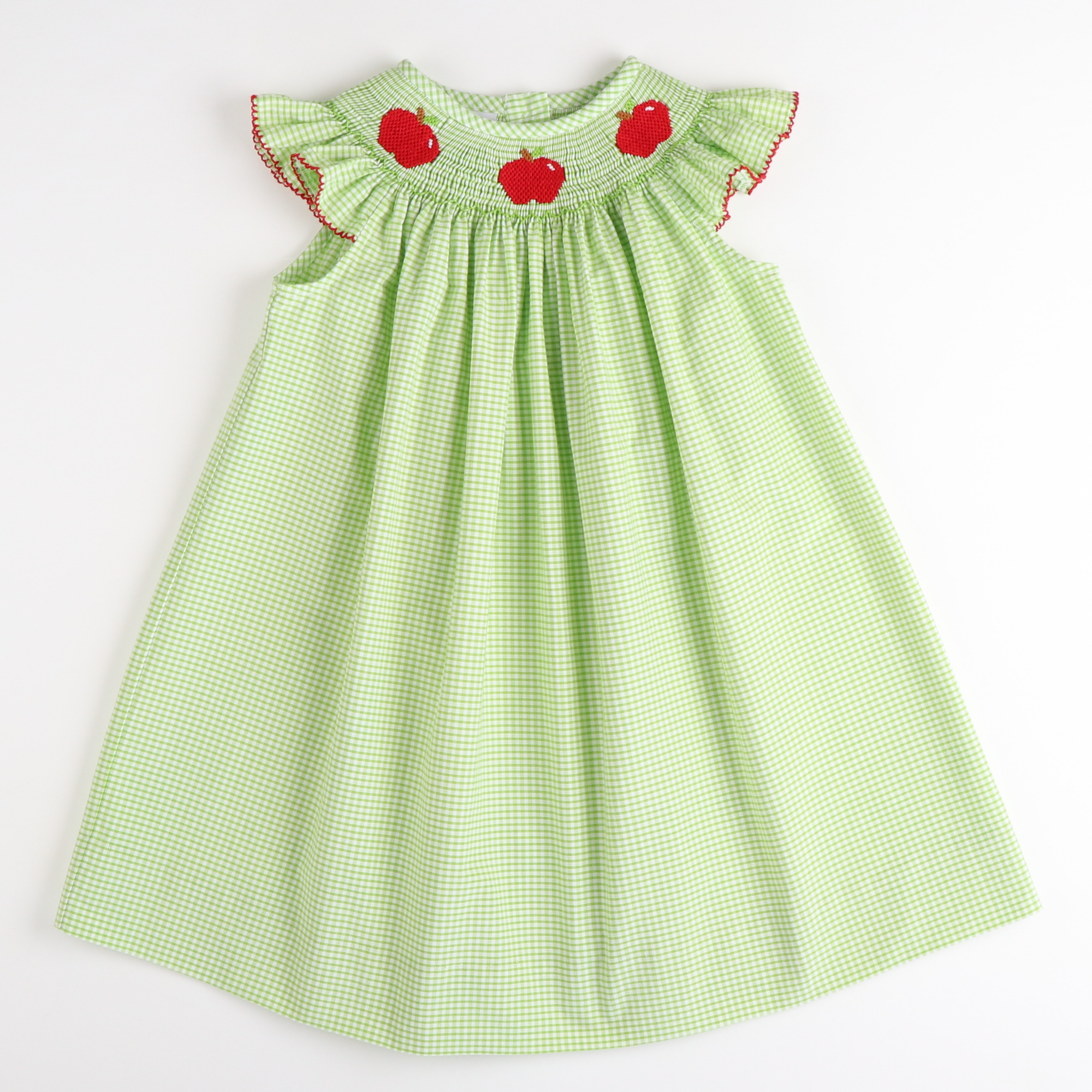 Smocked Apples Bishop - Green Check Seersucker
