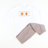 Smocked Turkey Brown GIngham Shirt & Pants Set