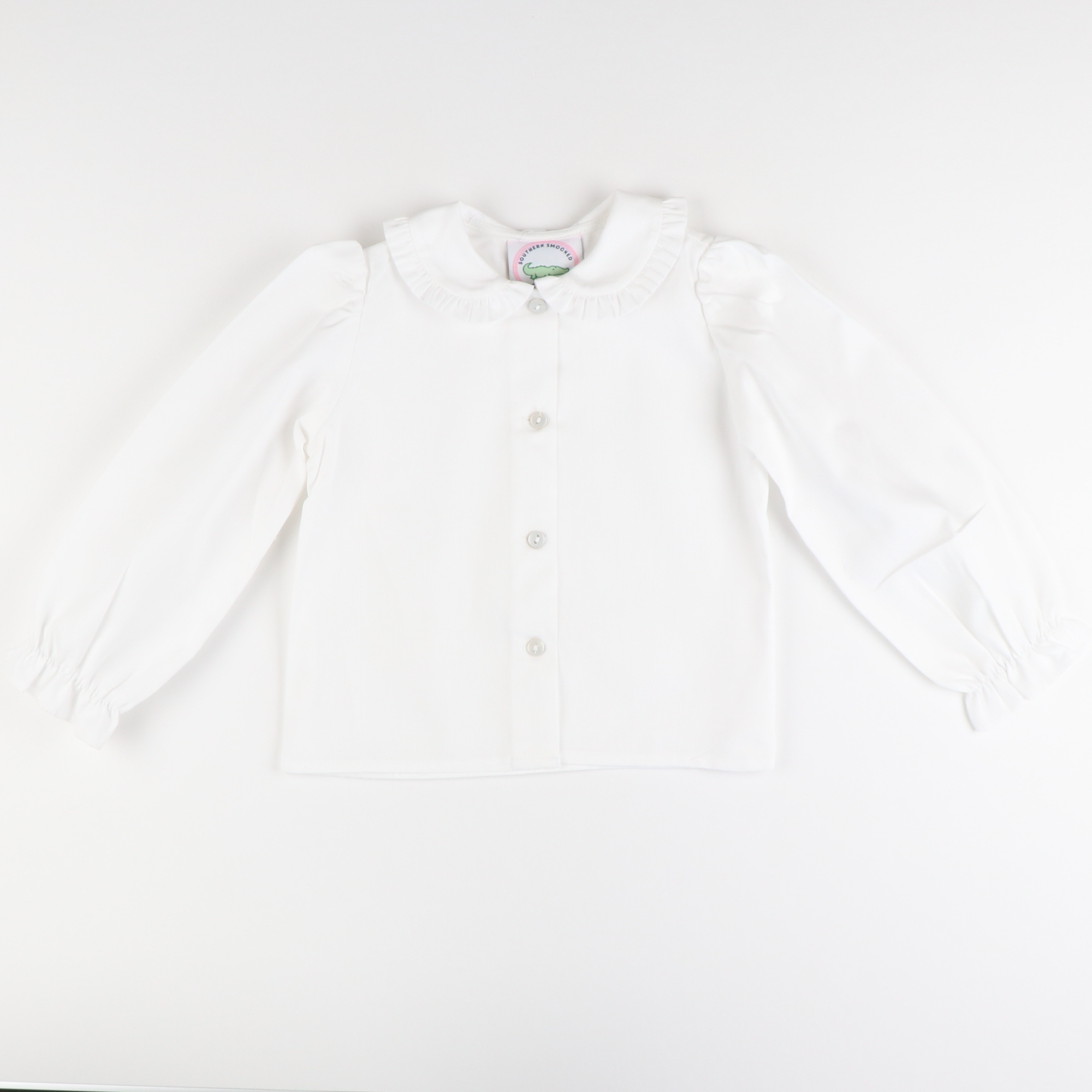 Pique Ruffle Collar Long Sleeve Blouse