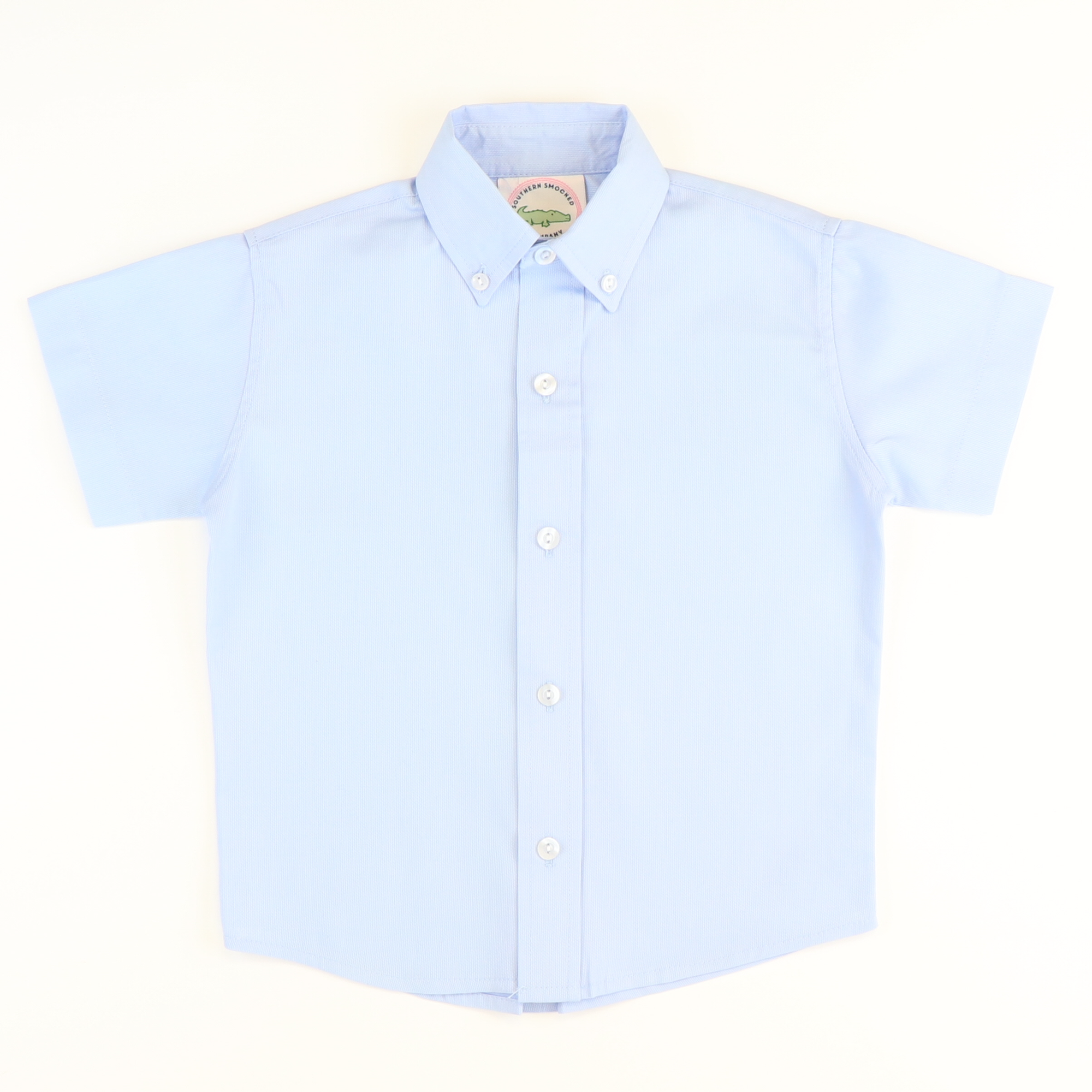 Light Blue Pique Button Down Shirt