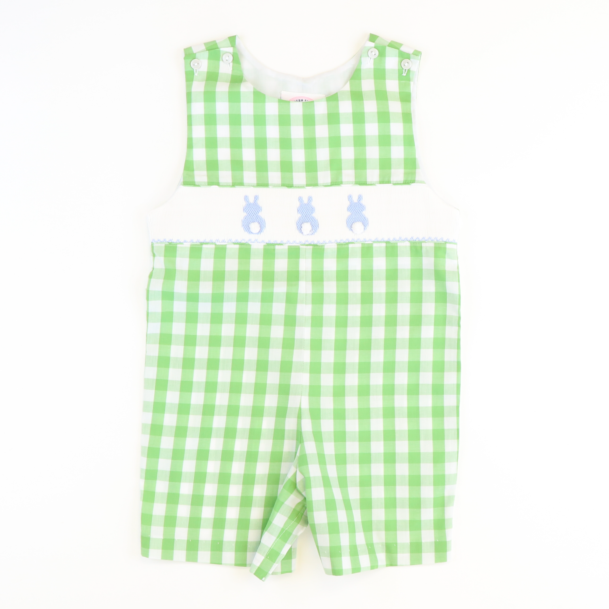 Smocked Cotton Tail Bunny Shortall - Green Check