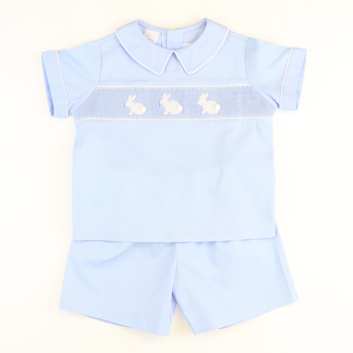 Smocked Bunny Silhouette Short Set - Light Blue Pique