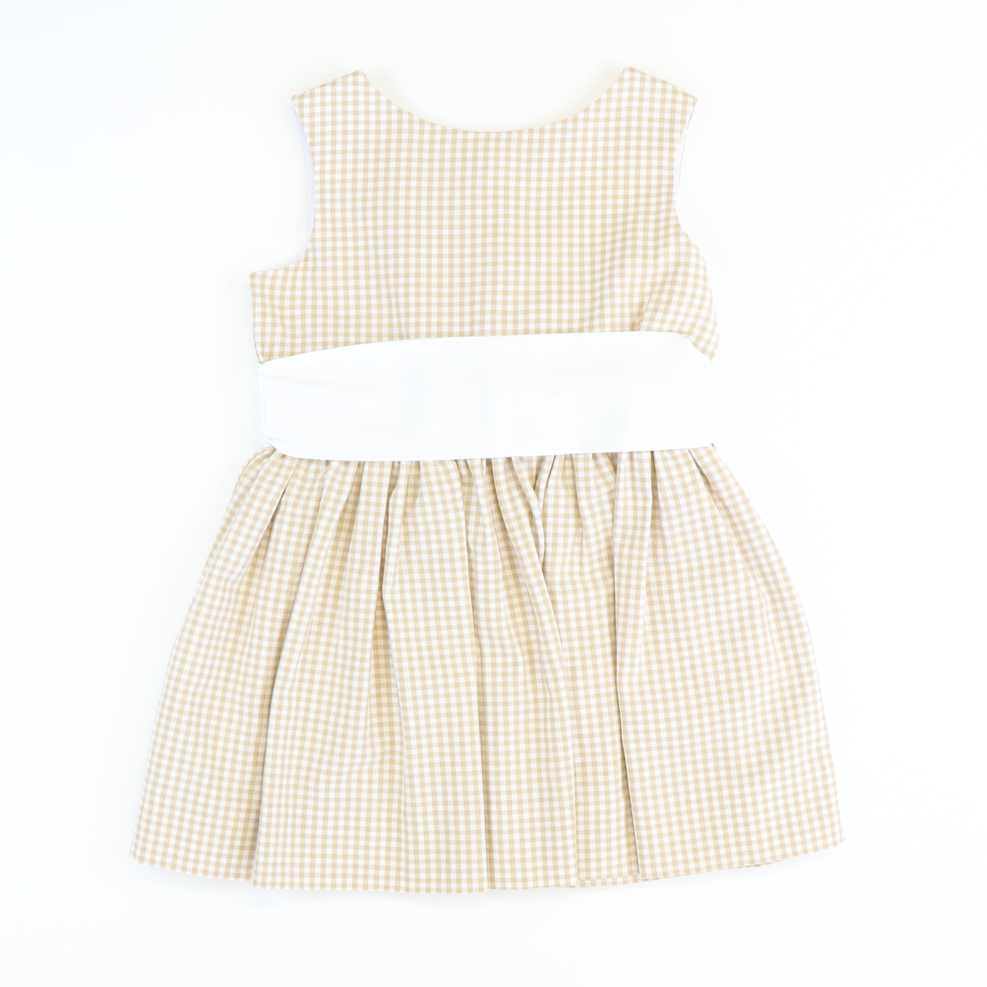 Uptown Tie Back Dress - Tan Check