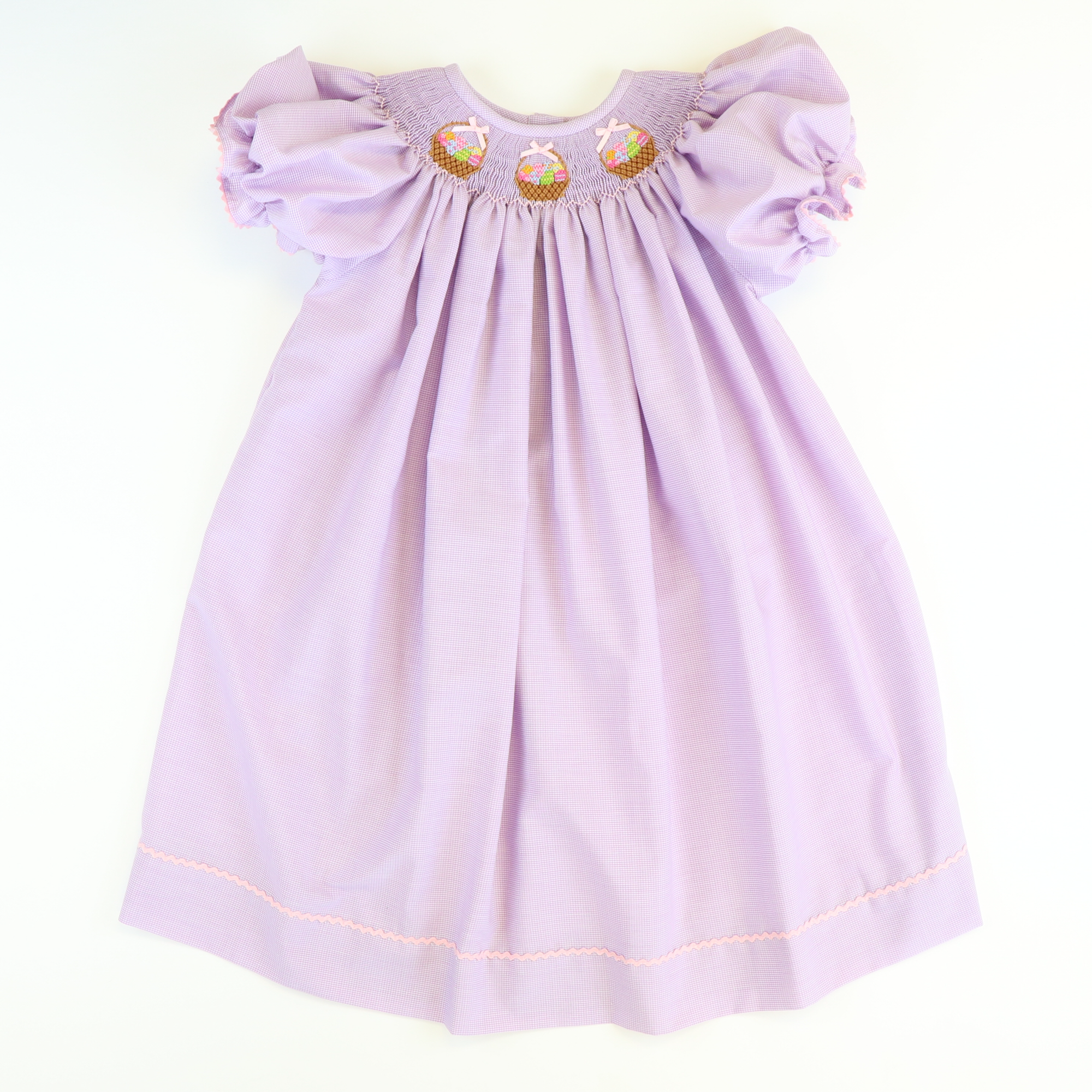 Smocked Easter Basket Bishop - Lavender Micro Gingham