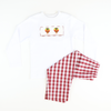 Smocked Turkey Burgundy Check Shirt & Pants Set