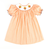 Smocked Turkey Orange Gingham Bishop