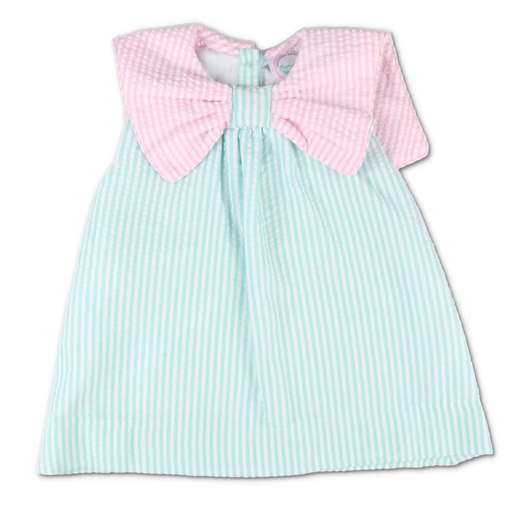 Pink & Mint Seersucker Bow Dress