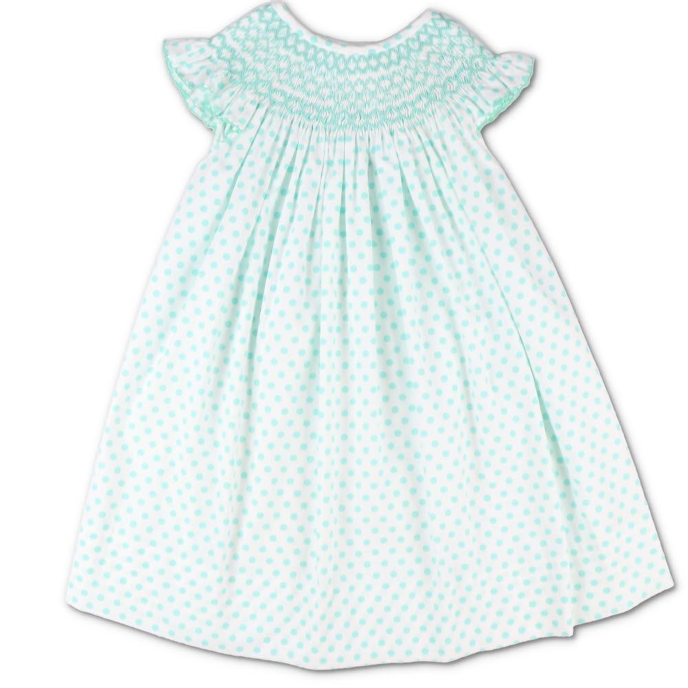 Mint Polka Dot Smocked Geometric Bishop