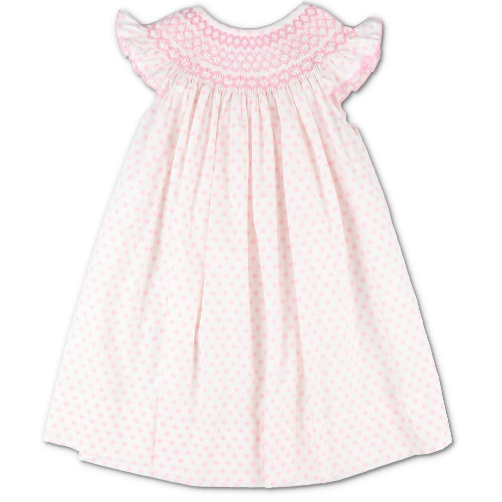 Pink Polka Dot Smocked Geometric Bishop