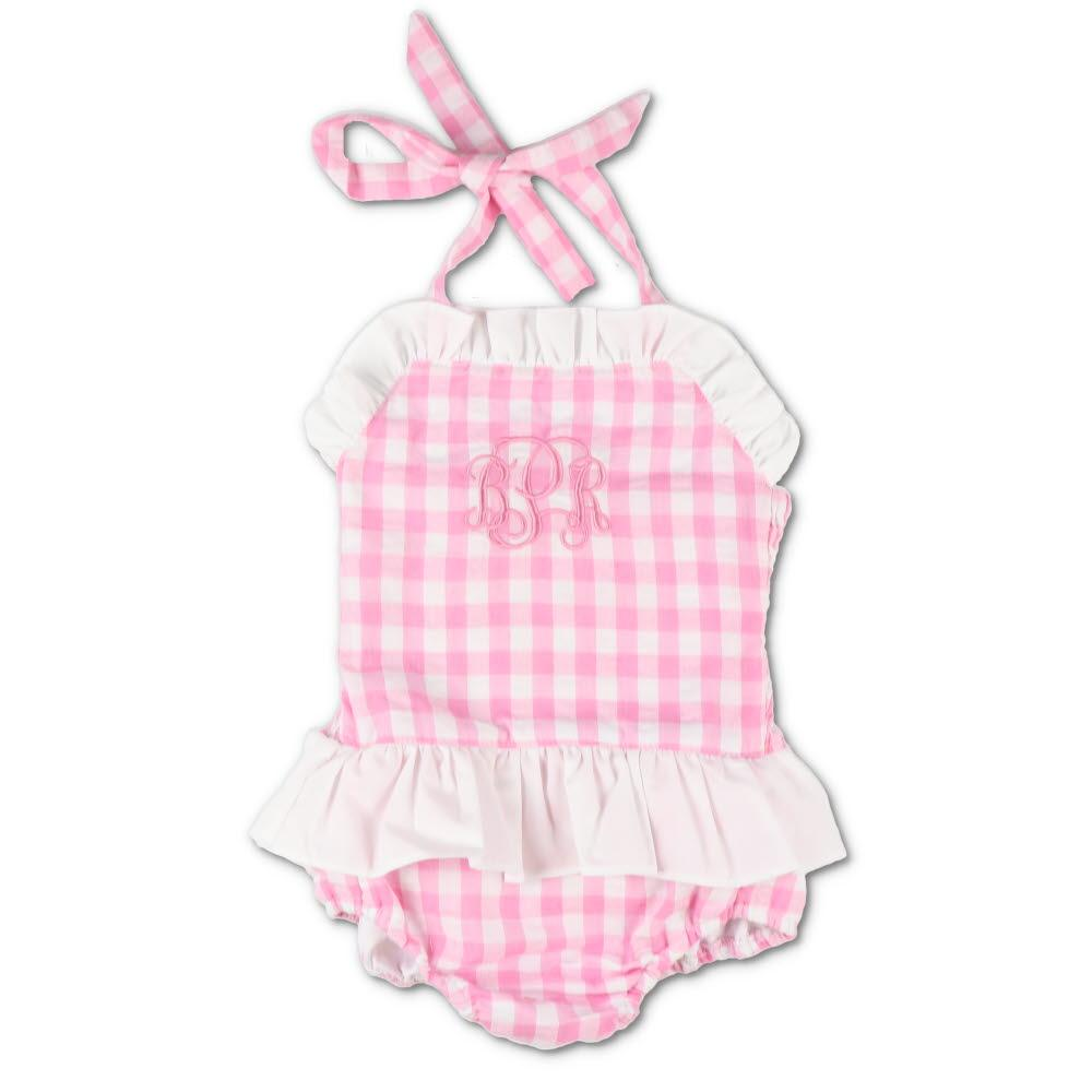 Pink Gingham Seersucker Ruffle Swimsuit