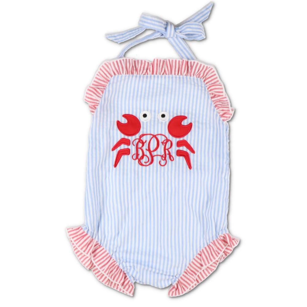 Embroidered Crab Blue Seersucker Swimsuit