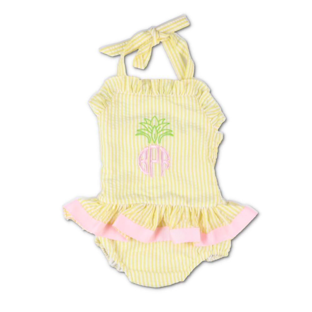 Embroidered Pineapple Yellow Seersucker Ruffle Swimsuit