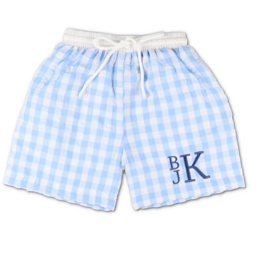 Blue Gingham Seersucker Swim Trunks