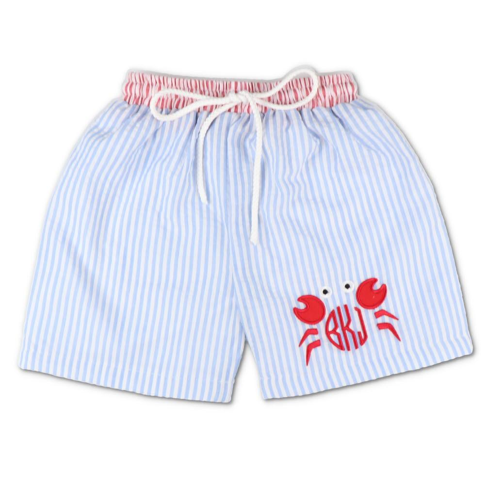 Embroidered Crab Blue Seersucker Swim Trunks