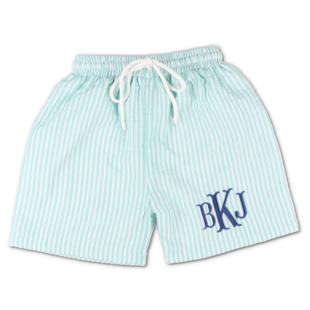 Mint Seersucker Swim Trunks