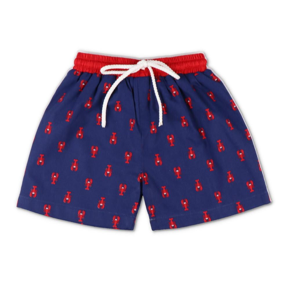 Navy & Red Crawfish Swim Trunks