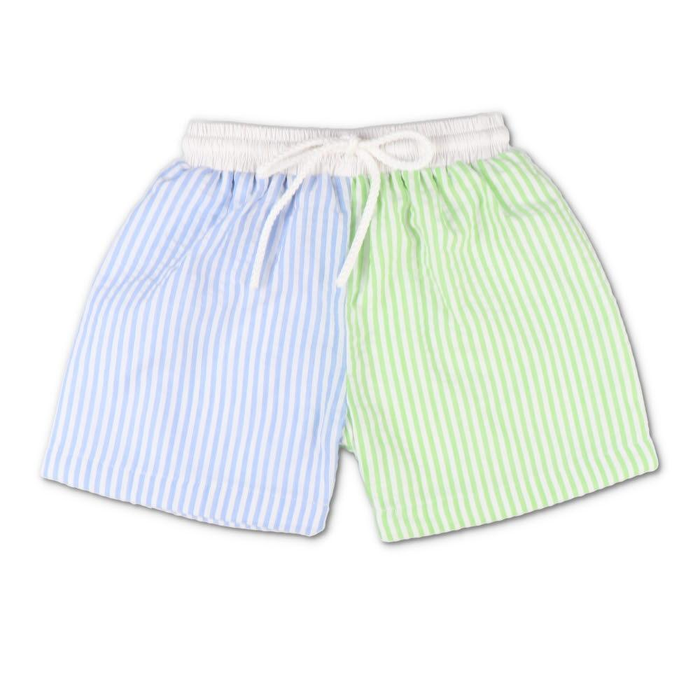 Blue & Green Seersucker Swim Trunks