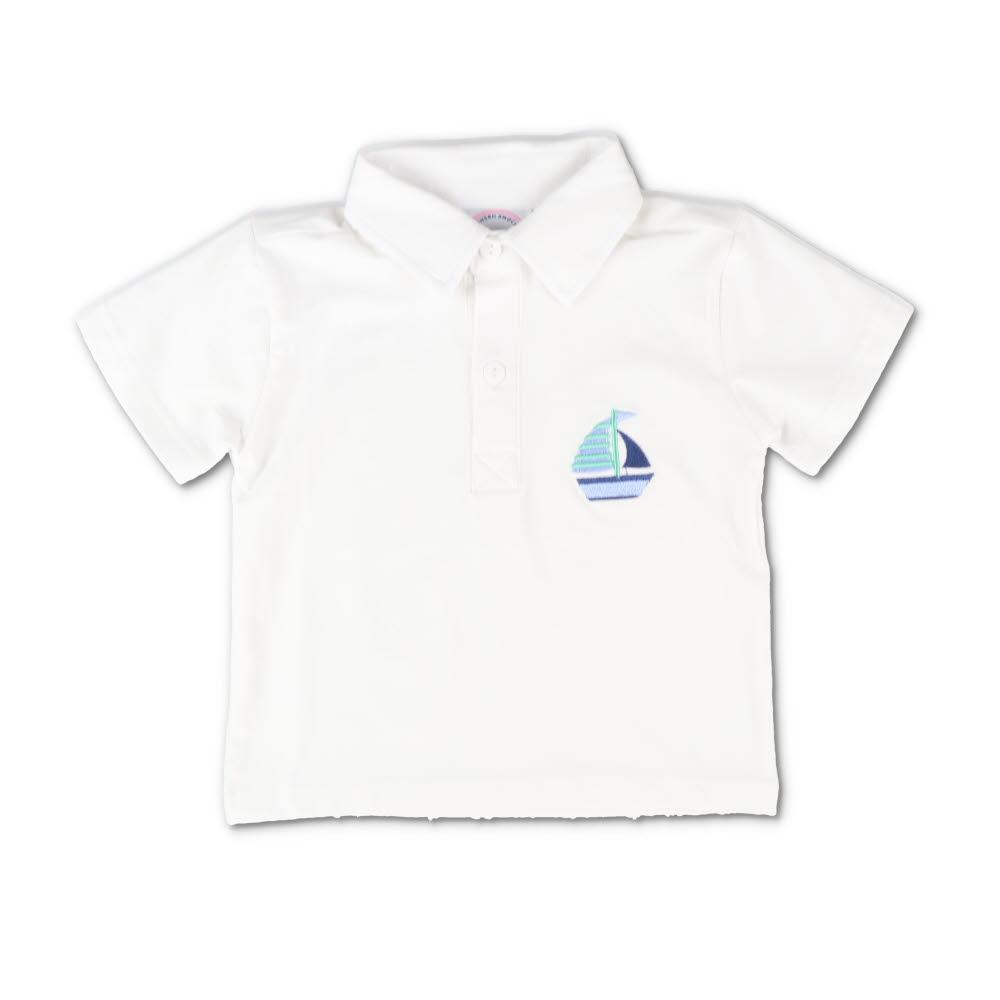 Embroidered Sailboat Short Sleeve Polo Shirt