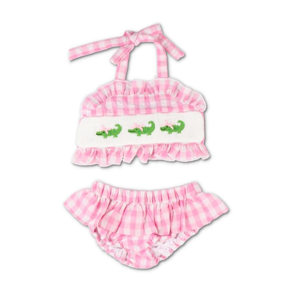 Smocked Alligator Pink Gingham Seersucker Bikini