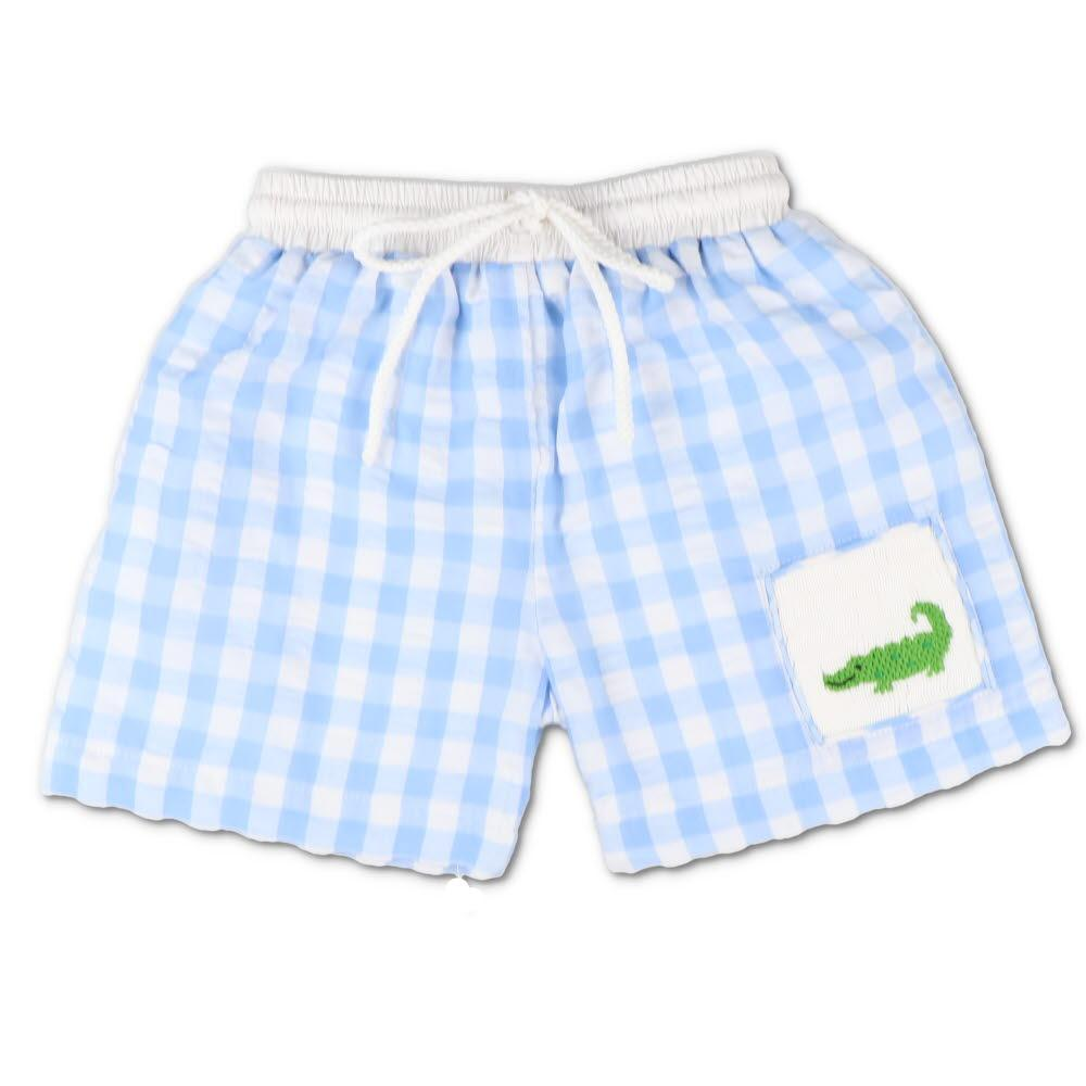 Smocked Alligator Blue Gingham Seersucker Swim Trunks
