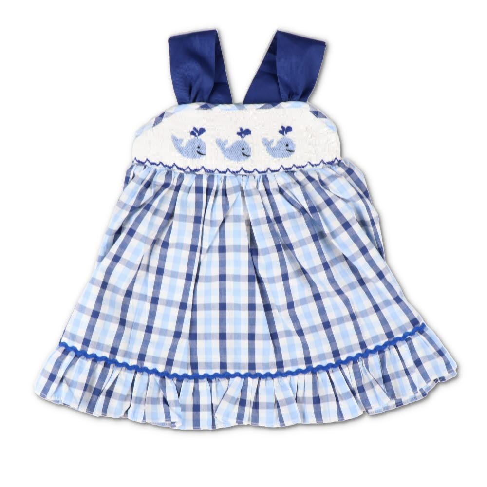 Smocked Whale Blue Plaid Sundress