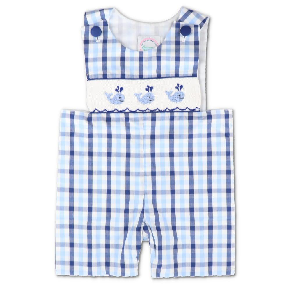 Smocked Whale Blue Plaid Shortall