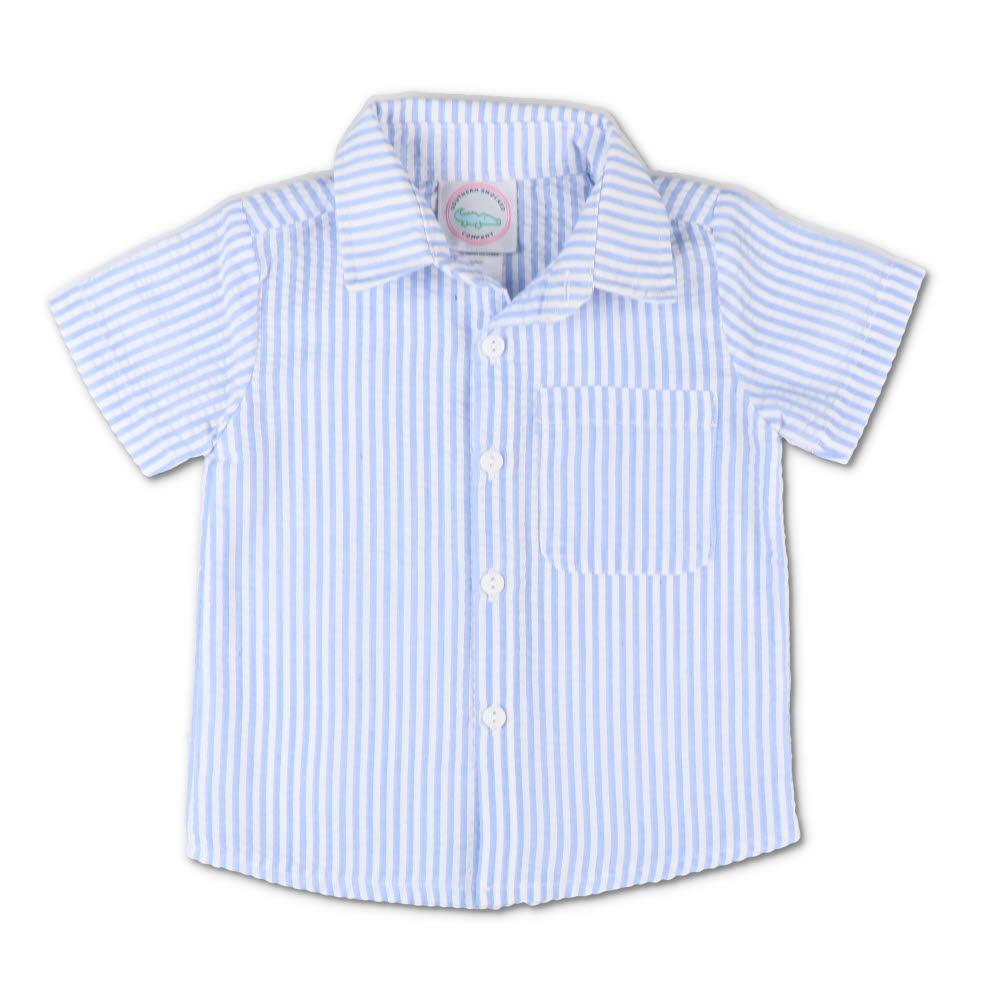 Blue Seersucker Short Sleeve Button Down Shirt