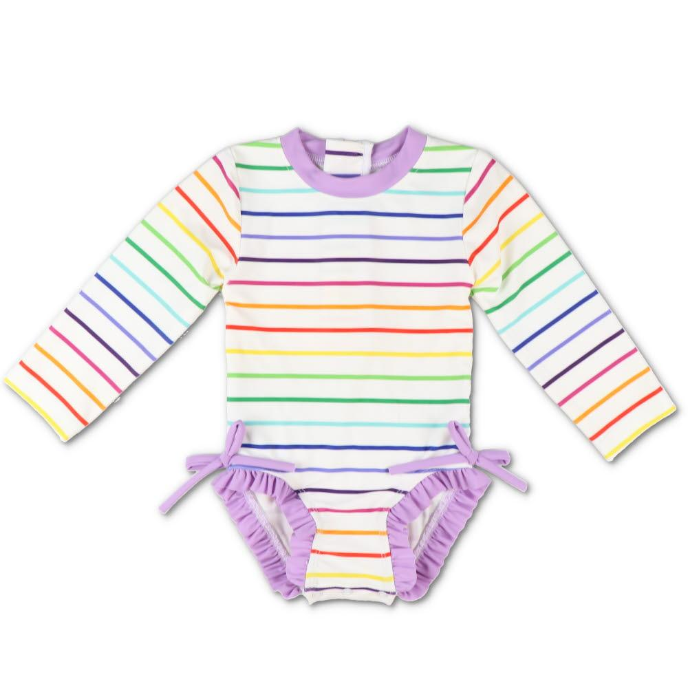 Rainbow Stripe Ruffle One-Piece
